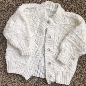 White hand-knit cardigan sweater, fits 6-12 months